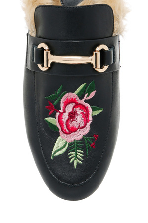 Piper - Max1 Black Embroidered Leather Loafer