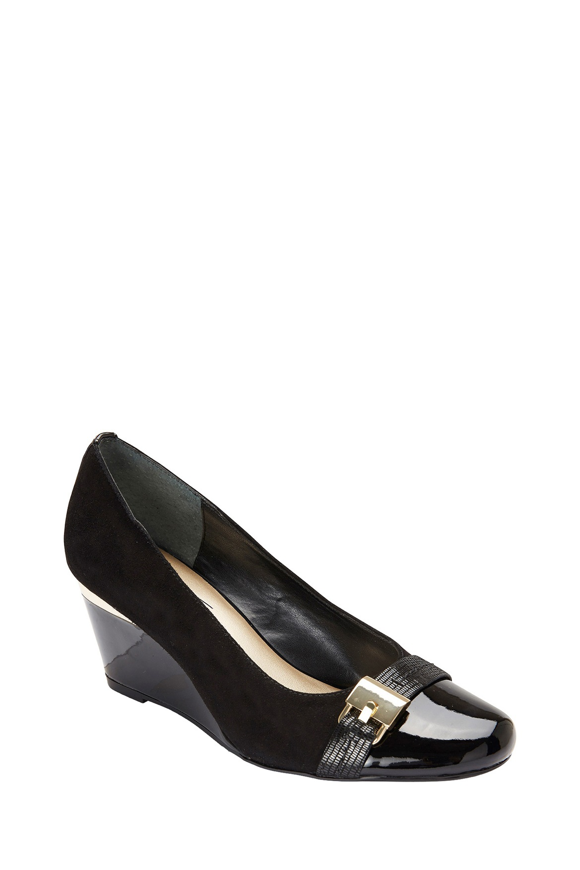 easy steps hammond black patent suede wedge myer