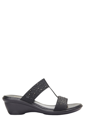 Easy Steps - Heather Black Elastic/Patent Sandal