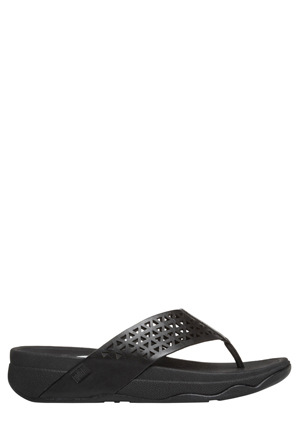 FitFlop - Leather Lattice Surf All Black Sandal