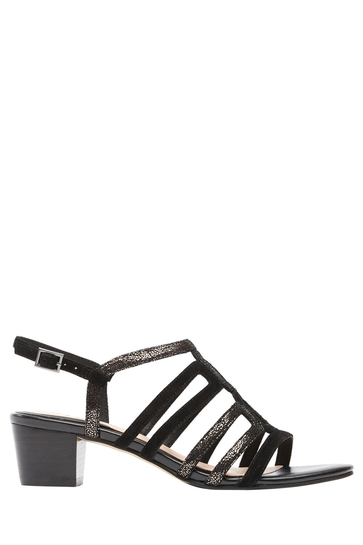 Black sandals myer - Supersoft By Diana Ferrari Ariaane Black Suede Gunmetal Sandal Myer Online