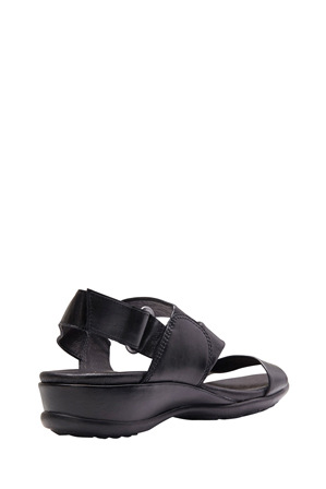 Wide Steps - Caine Black Glove Sandal