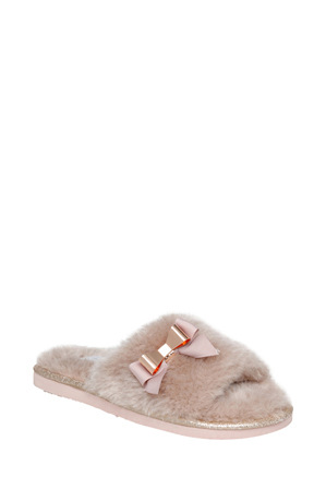 Grosby - Bow Mink Slipper