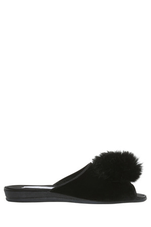 Grosby - Fuzzy Black Slipper
