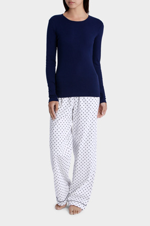 Soho - 'Basics' Long Sleeve Knit Top with Flannel Pant SSOW17001