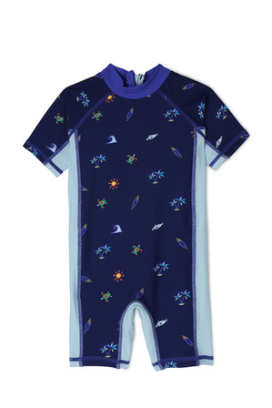 Sprout - Boys Short Sleeve Swimsuit - Tropical AOP