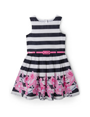 Origami - Stripe Sundress With Floral Border Print 3-8