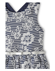 Origami - Floral Jacquard Dress With Silver Belt - Navy