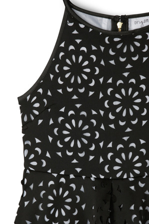Origami - Cut Out Scuba Skater Dress - Black and White