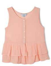 Tilii - Button Front Singlet with Frill Hem