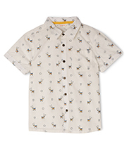 Jack & Milly - Dave Woven Button Through Short Sleeve Shirt - Llama Print
