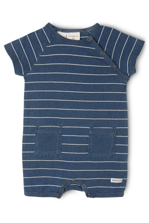 Jack & Milly - Mike Raglan Romper with Front Pockets - Indigo / White Stripe