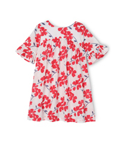 Jack & Milly - Ruby Bell Sleeve Smock-Red Floral On Coconut