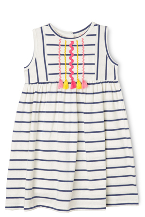 Jack & Milly - Lg Meggie Stripe Dress With Ric Rac And Tassels-Navy/Coconut.