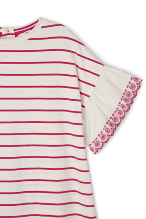 Jack & Milly - Emily Broderie Frill Sleeve Stripe Knit Dress - Hot Pink / Coconut