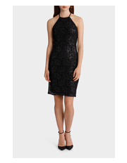 Spliced Body Con Lace Dress