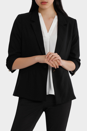 Tokito - rouched sleeve jacket - black