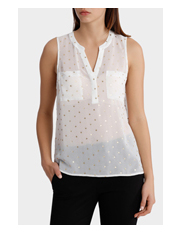 Tokito - Metallic Print Dobby Sleeveless Shirt
