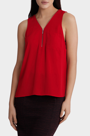 Tokito City - Zip Collar Sleeveless Top