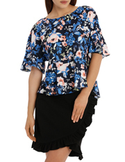 Tokito - Flounce sleeve peplum top - blurred stencil floral