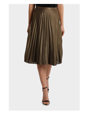 Tokito - Pleated Gold Metallic Midi Skirt