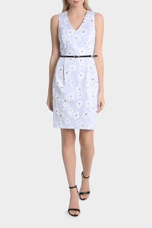 Tokito - Sateen V-Neck Dress with Cut Out Back - Frosted Floral