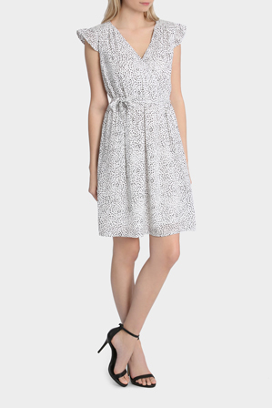 Tokito - Shirred Yoke Tie Waist Print Dress