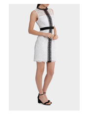 Tokito - high neck lace dress with lace trims