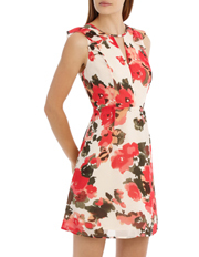 Tokito - Key Hole Frill Sleeve Dress Water Colour Floral
