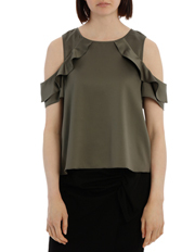 Tokito Petites - Cold Shoulder With Ruffle