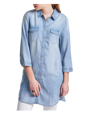 ONLY - Bibi 3/4 Sleeve Long Denim Shirt