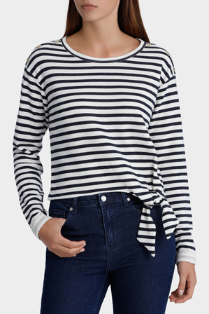 ONLY - Amy Long Sleeve Short Stripe Sweat