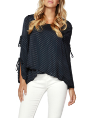 Silver Dot Tie Sleeve Blouse