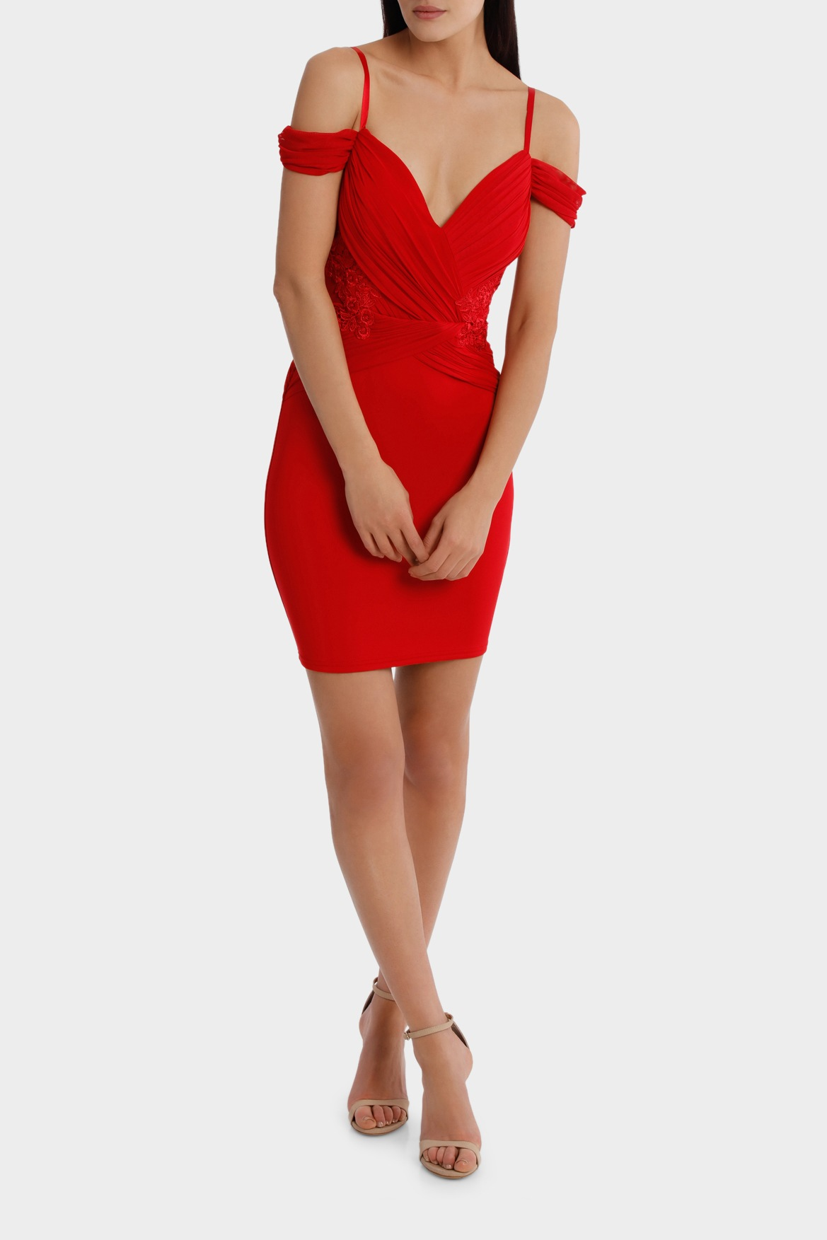 Ruched Cold Shoulder Bodycon Dress - Red Lipsy nSBgbr8b