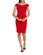 Red V Neck Buckle Waist Bodycon L72930