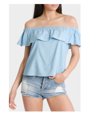 Glamorous - Chambray Off Shoulder Top