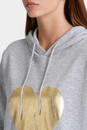 Miss Shop Essentials - Printed Pullover Hoodie with Gold Foil Heart
