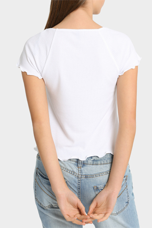 Miss Shop Essentials - Frilly Rib Rachel Short Sleeve Tee