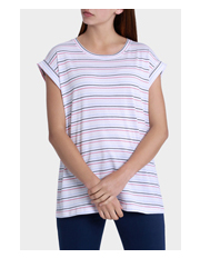 Miss Shop - Boyfriend Roll Cuff Tee Rainbow Stripe