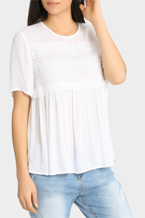 Miss Shop - Short Sleeve Daisy Lace Insert Soft Top