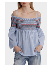 Miss Shop - Shirred Front Off Shoulder Top