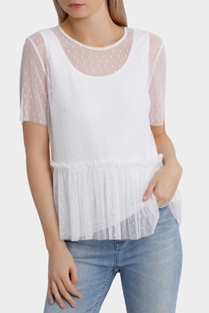 Miss Shop - Mesh Spot Top