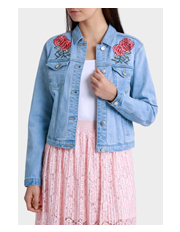 Miss Shop - Embroidered Floral Denim Jacket