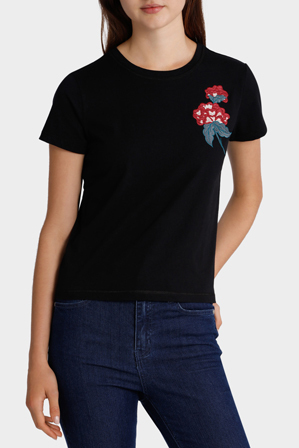 Miss Shop - Embroidered Rose Tee