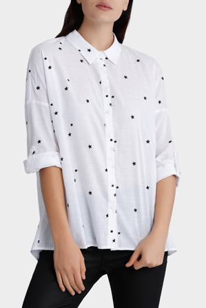 Miss Shop - Long Sleeve Star Embroidery Shirt
