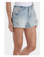 Miss Shop - Mid Rise Fray Hem Distressed Short