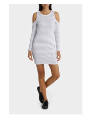 Miss Shop - Glitter Stripe Cut Out Shoulder Dress