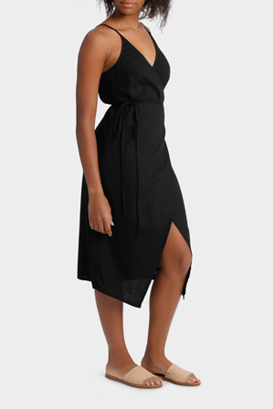 Miss Shop - Linen Midi Wrap Dress