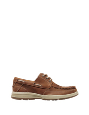 Lock Mens Leather Trim Boat Shoe