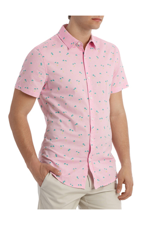 Kenji - Macchio Palm Print Short Sleeve Shirt
